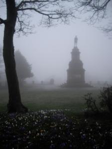 War memorial in lunchtime fog