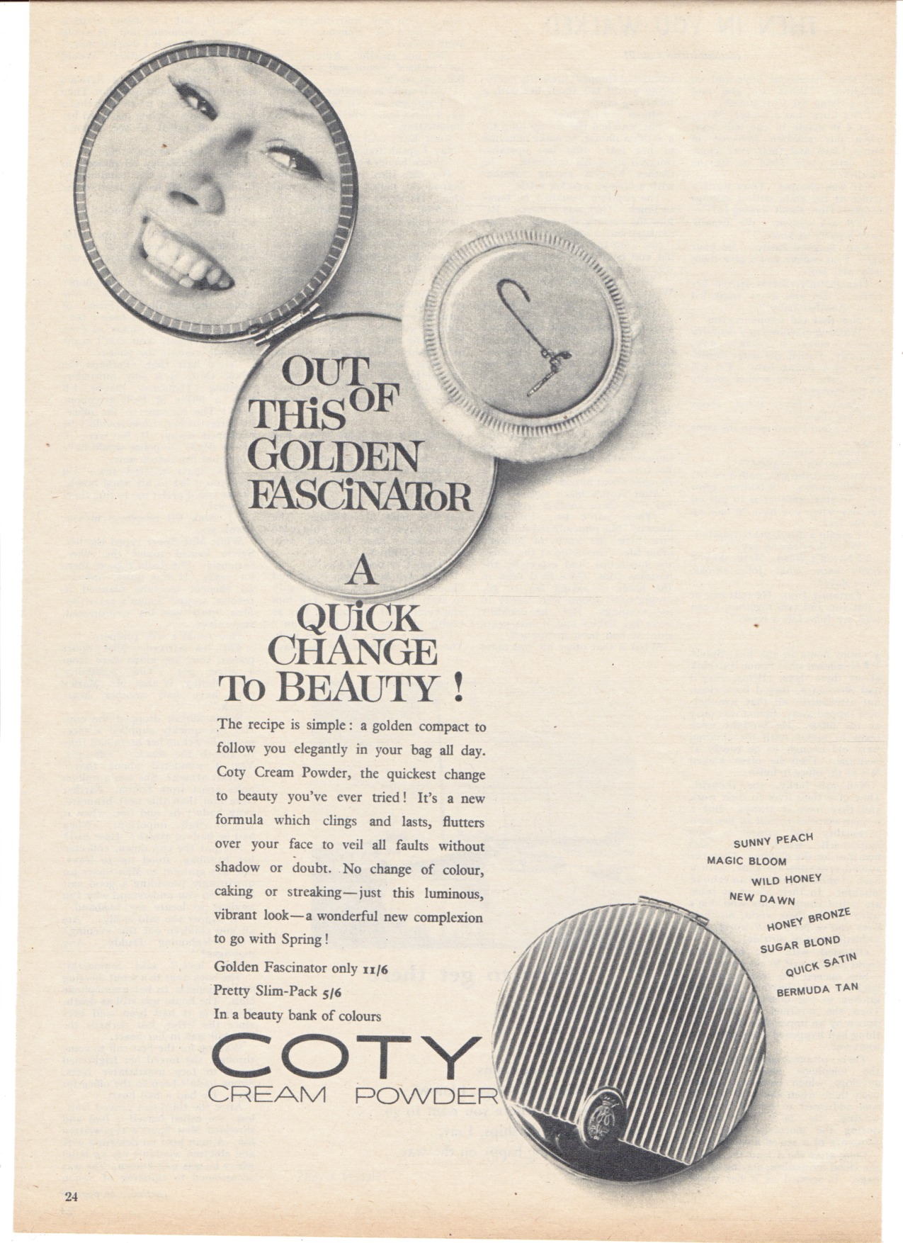 coty vintage powder compact advert