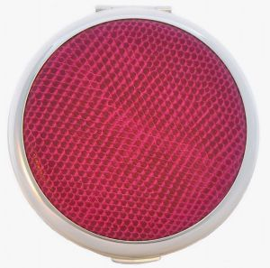 New silver-plated Stratton compact with fuchsia faux snakeskin