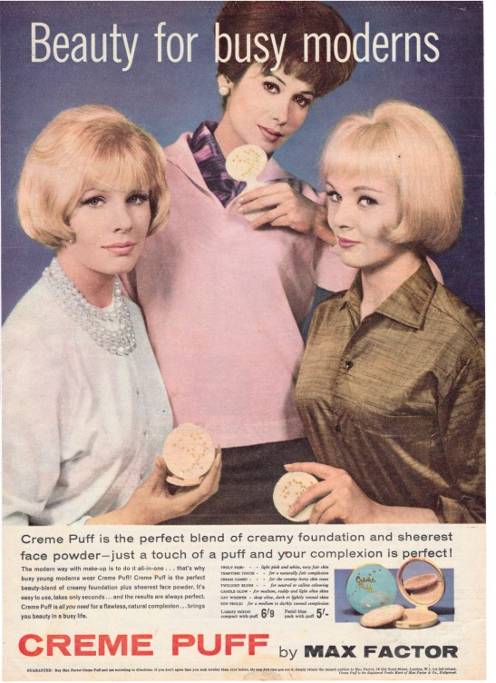 Vintage Max Factor Creme Puff compact advert for Woman's Realm