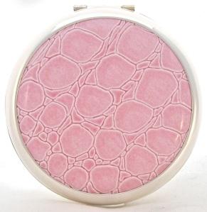 Pink croc Stratton vintage-style powder compact