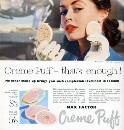 max factor creme puff compact 1950s vintage advert