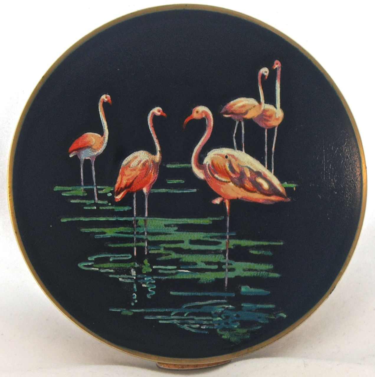 Vintage Stratton flamingo compact - probably 1950s or earliest 1960s
