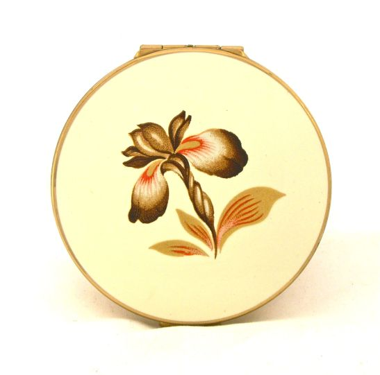 Vintage 1960s Stratton orchid powder compact