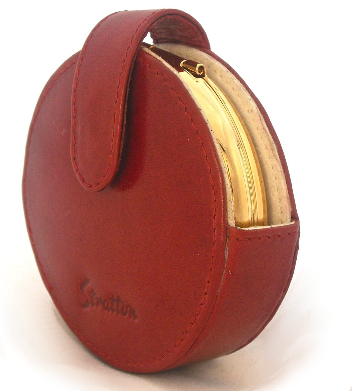 red leather stratton compact case