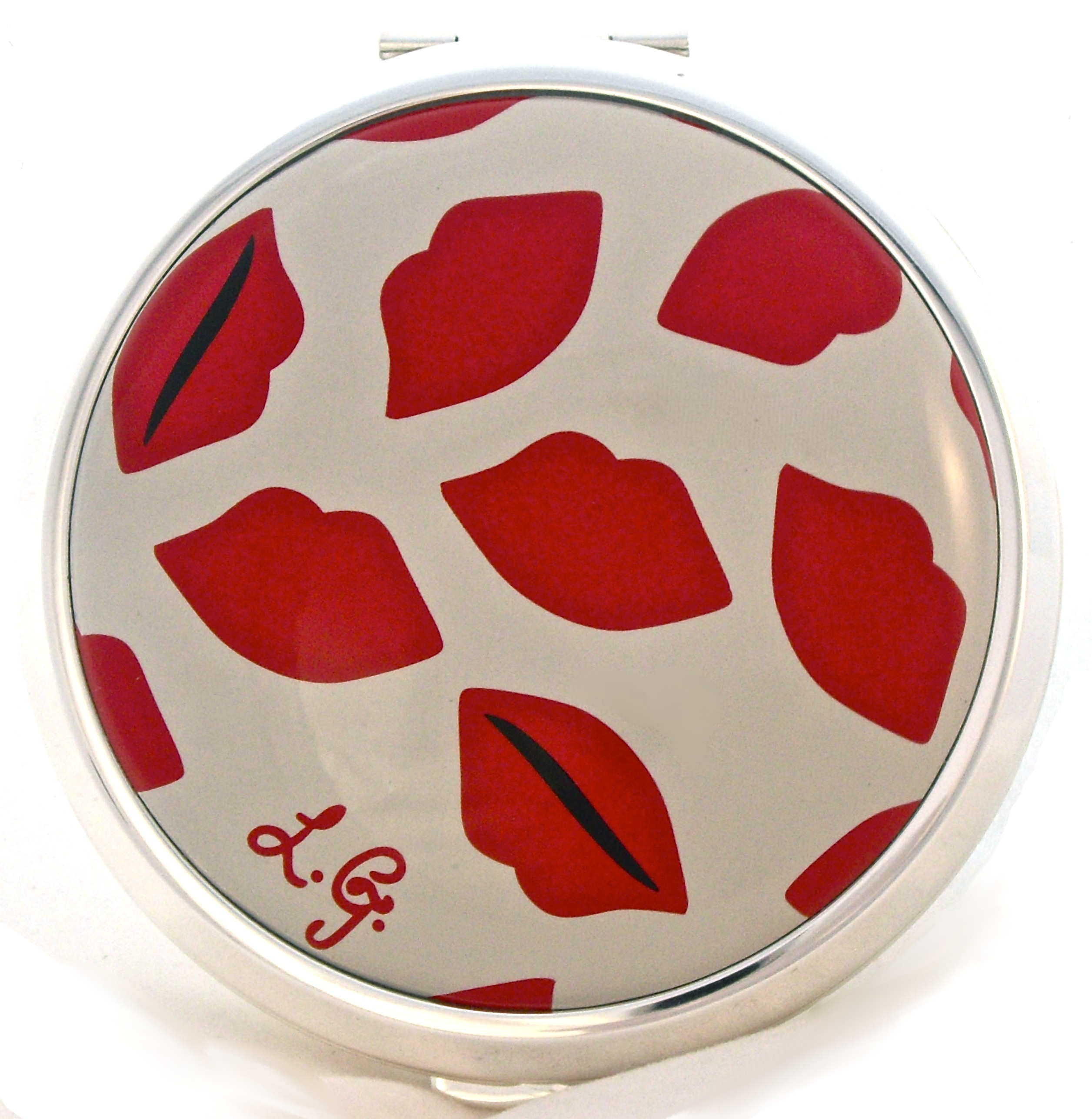 lulu guinness lips powder compact