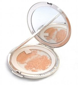 loose powder compact open with Stratton powder sifter