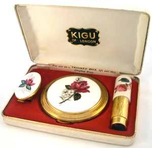 vintage 1960s powder compact KIGU atomiser and lipmirror set
