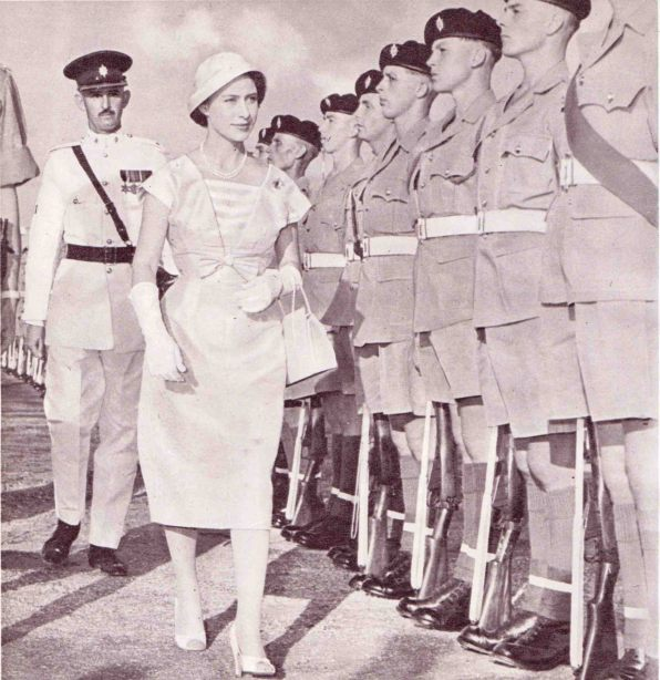 Margaret inspects Guard of Honour in Belize, 1958