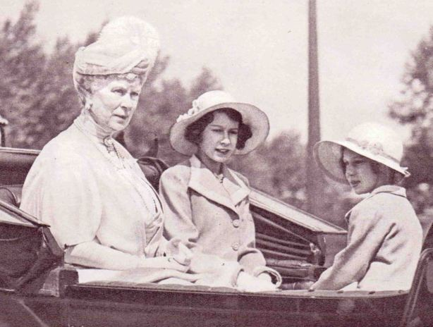Queen Mary and her grand-daughters 1938