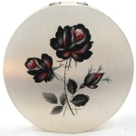 Vintage silver-plated Stratton rose powder compact, 1970s