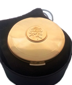 Stratton golden rose powder compact