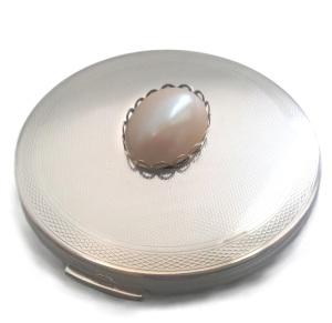 Stratton pearl silver powder compact