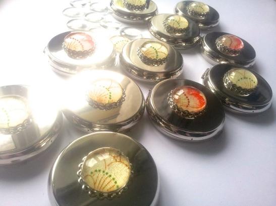 My ten foiled kimono silk mirrors.