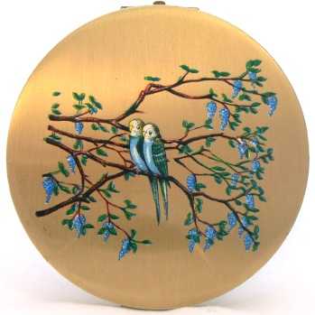 Vintage Stratton compact with budgies