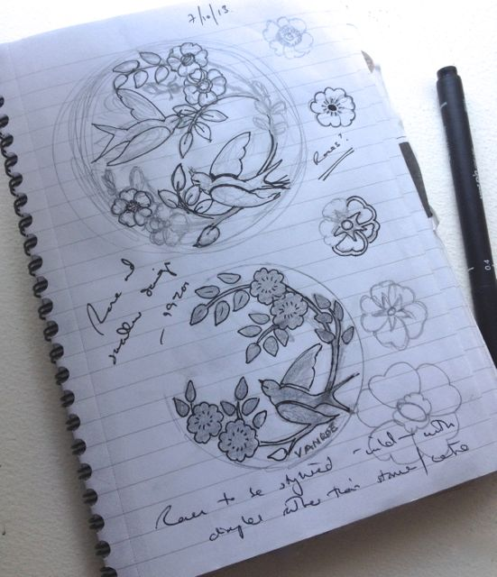 Sketches for the Rose & Swallow compact mirror